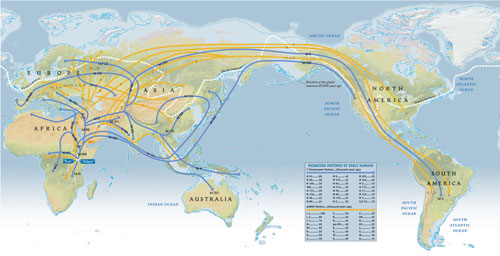 Human migration routes out of Africa